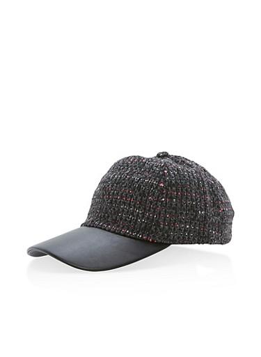 Stitched Woven Baseball Hat,BLACK/GREY,large