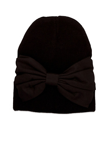 Beanie Hat with Bow Accent,BLACK,large