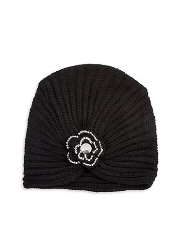 Rhinestone Flower Knit Turban Hat,BLACK,large