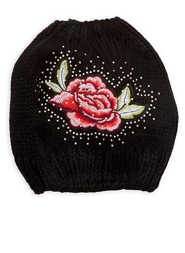 Rhinestone Rose Patch Bun Hat,BLACK,large