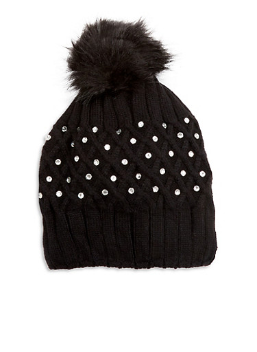Pom Pom Cross Stitch Hat,BLACK,large