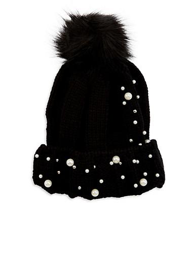 Faux Pearl Knit Pom Pom Hat,BLACK,large