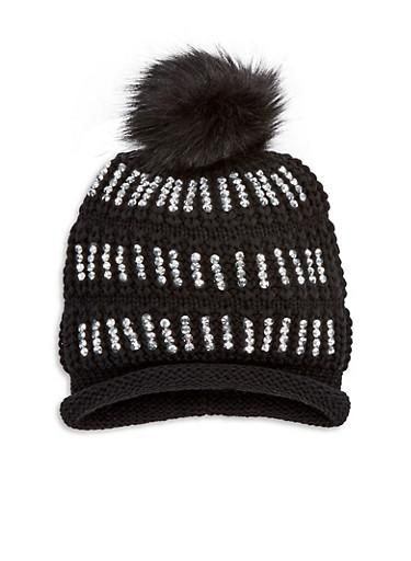 Rhinestone Pom Pom Knit Beanie,BLACK,large