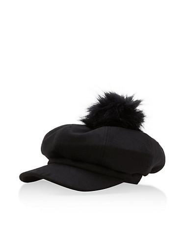 Pom Pom Newsboy Cap,BLACK,large
