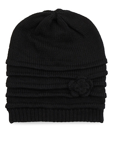 Ribbed Beanie Hat with Flower,BLACK,large