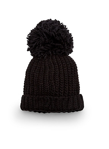 Chunky Knit Beanie Hat with Pom Pom Topper,BLACK,large