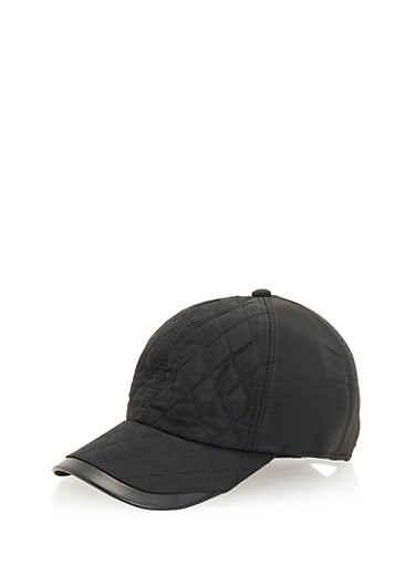 Quilted Baseball Hat with Earflaps,BLACK,large