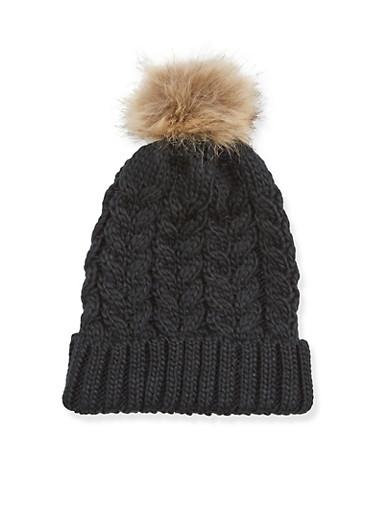 Beanie Hat with Faux Fur Pom Pom,BLACK,large