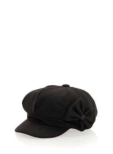 Knit Paperboy Cap with Bow,BLACK,large