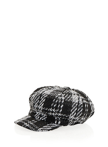 Knit Paperboy Cap in Plaid,BLACK/WHITE,large