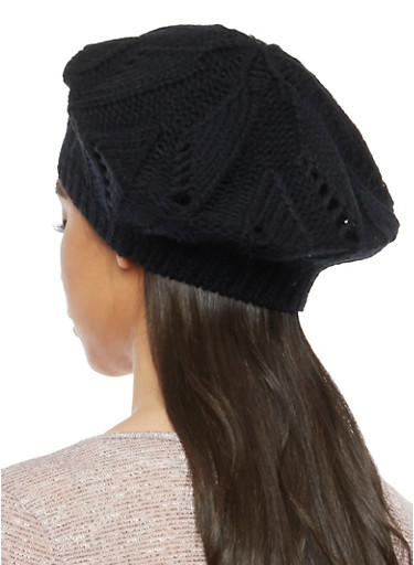 Knit Beret Hat,BLACK,large