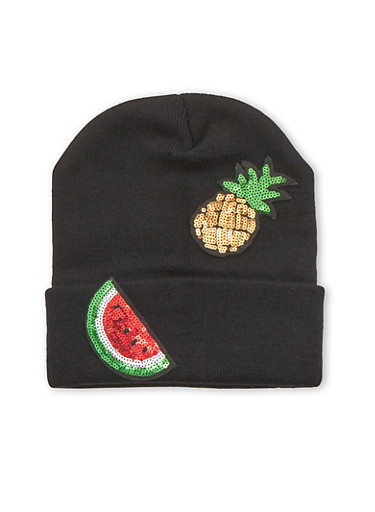 Beanie Hat with Sequin Fruit Patches,BLACK,large
