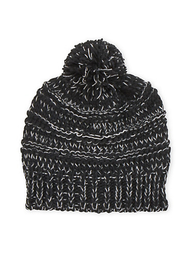 Two Tone Beanie Hat with Pom Pom,BLACK,large