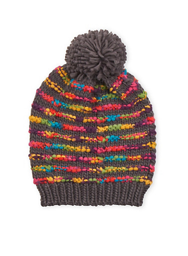Beanie Hat with Multicolored Stripes,GRAY,large