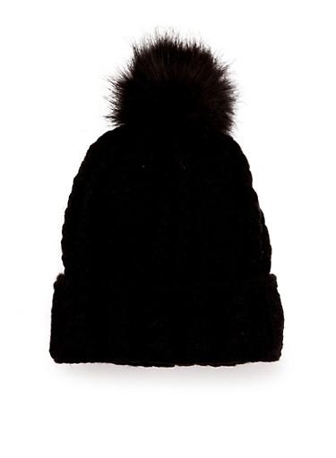 Knit Beanie Hat with Faux Fur Pom Pom,BLACK,large