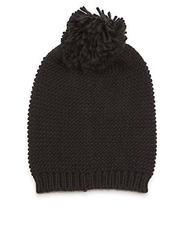 Knit Beanie Hat with Pom Pom,BLACK,large