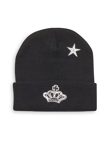 Beanie Hat with Crown and Star Patches,BLACK,large