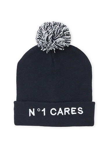Pom Pom Beanie Hat with No One Cares Embroidery,BLACK/WHITE,large