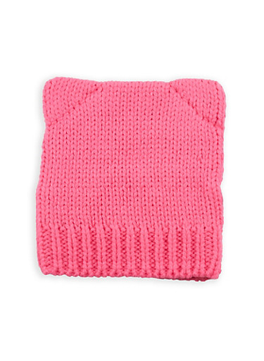 Cat Ear Knitted Beanie,PINK,large