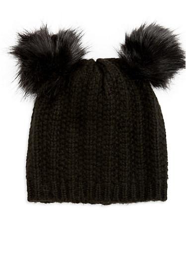 Double Pom Pom Knit Hat,BLACK,large