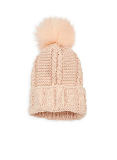 Cable Knit Pom Pom Beanie at Rainbow Shops in Jacksonville, FL | Tuggl