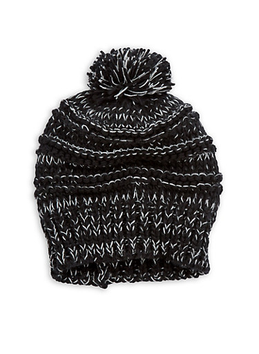 Two Tone Pom Pom Knit Beanie,BLACK,large
