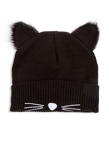 Knit Black Cat Beanie with Faux Fur Ears,BLACK,large