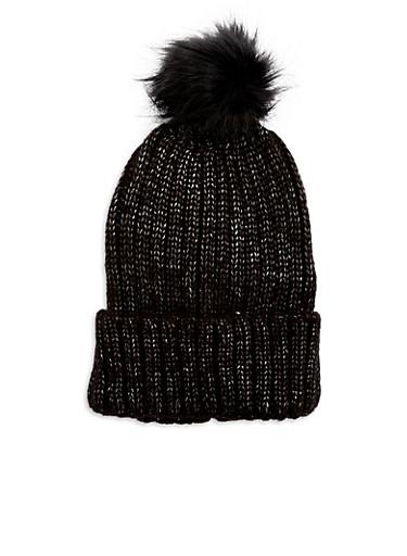 Shimmer Knit Pom Pom Hat,BLACK/SILVER,large