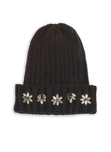 Jewel Accented Knit Beanie,BLACK,large