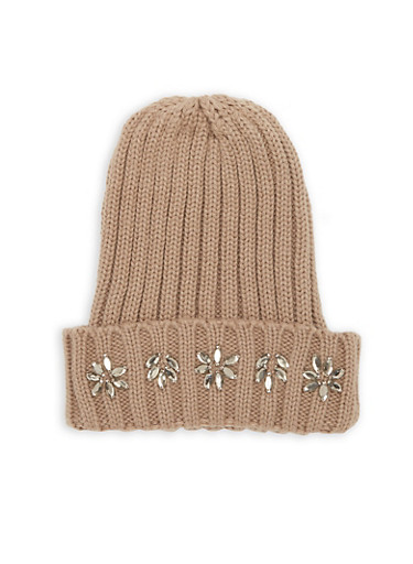 Jewel Accented Knit Beanie,TAUPE,large