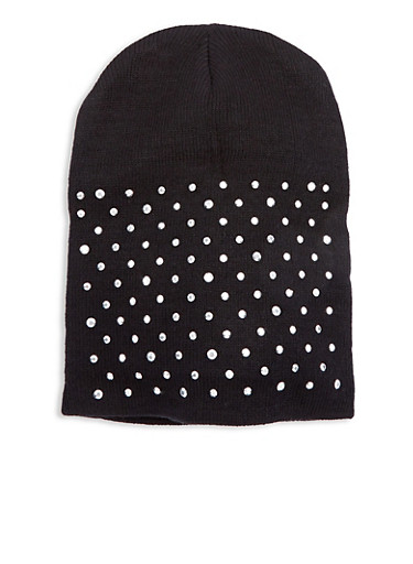 Knit Studded Beanie,BLACK,large
