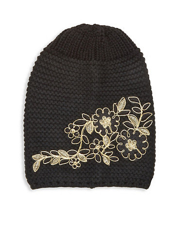 Metallic Floral Embroidered Beanie,BLACK,large