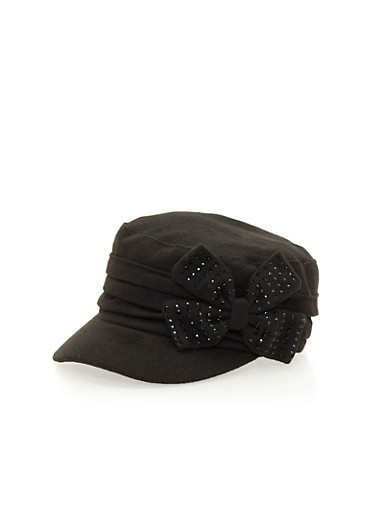 Knit Paperboy Hat with Studded Bow,BLACK,large