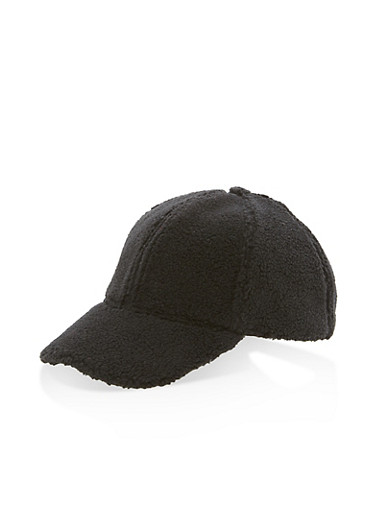 Faux Fur Baseball Hat,BLACK,large