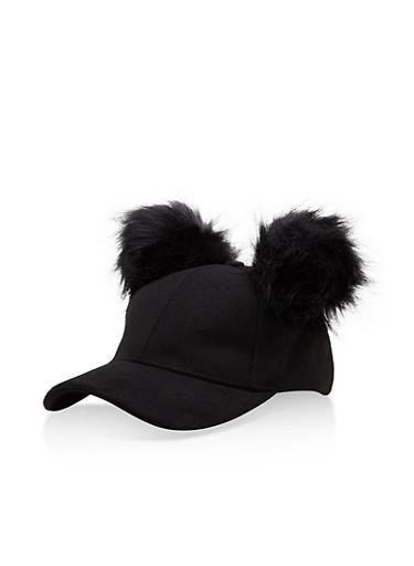 Wool Pom Pom Baseball Hat,BLACK,large