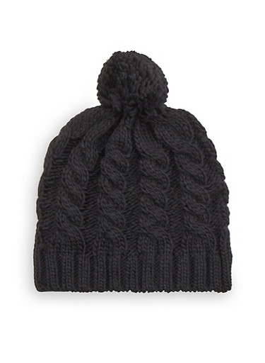Cable Knit Beanie Hat with Pom Pom,BLACK,large