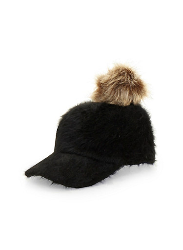 Faux Fur Baseball Hat with Pom Pom,BLACK,large