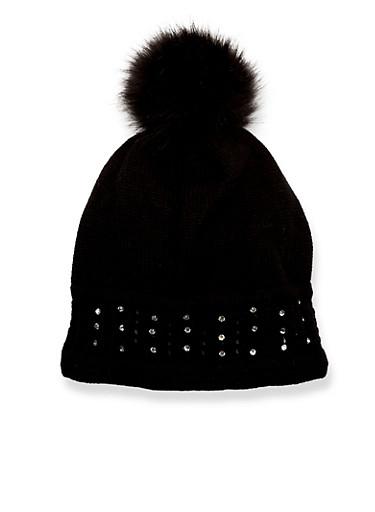 Studded Beanie Hat with Faux Fur Pom Pom,BLACK,large