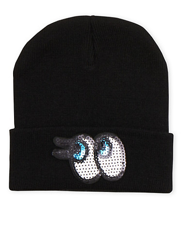 Beanie Hat with Sequin Eyes,BLACK,large