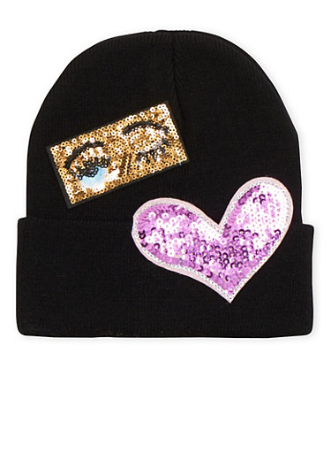 Beanie Hat with Sequin Emojis,BLACK,large