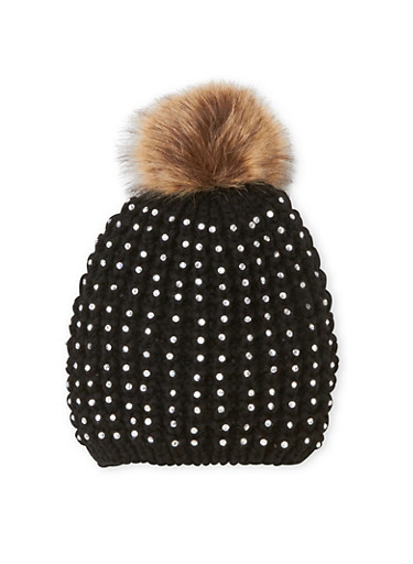 Studded Beanie Hat with Faux Fur Pom Pom,BLACK,large