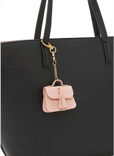 Faux Leather Satchel Keychain,PINK LIGHT,large