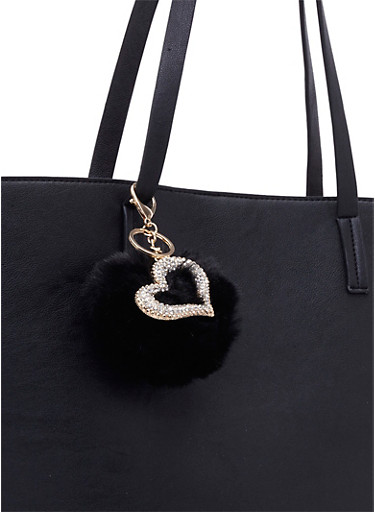 Faux Fur Bag Charm with Crystal Heart Charm,BLACK,large