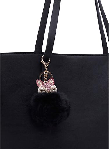 Rhinestone Fox Pom-Pom Hand Bag Charm,BLACK,large