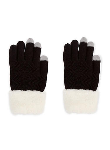 Fuzzy Cuffed Gloves,BLACK,large