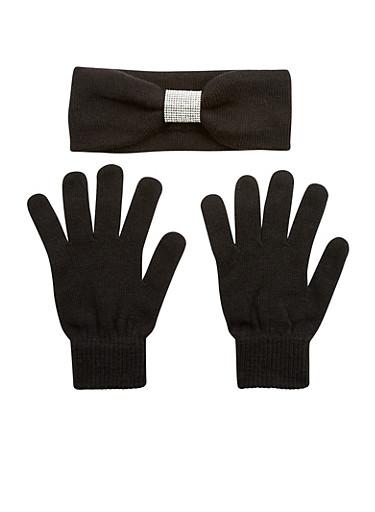 Rhinestone Headband and Gloves Set,BLACK,large