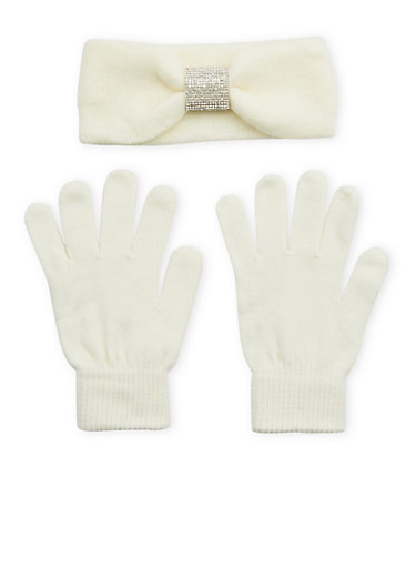 Rhinestone Headband and Gloves Set,WHITE,large