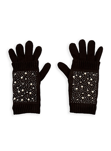 Faux Pearl Studded 2 Piece Gloves,BLACK,large