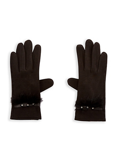Faux Fur Trim Rhinestone Studded Gloves,BLACK,large