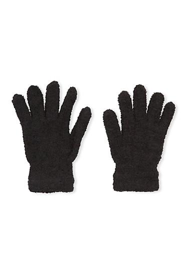 Plush Gloves,BLACK,large